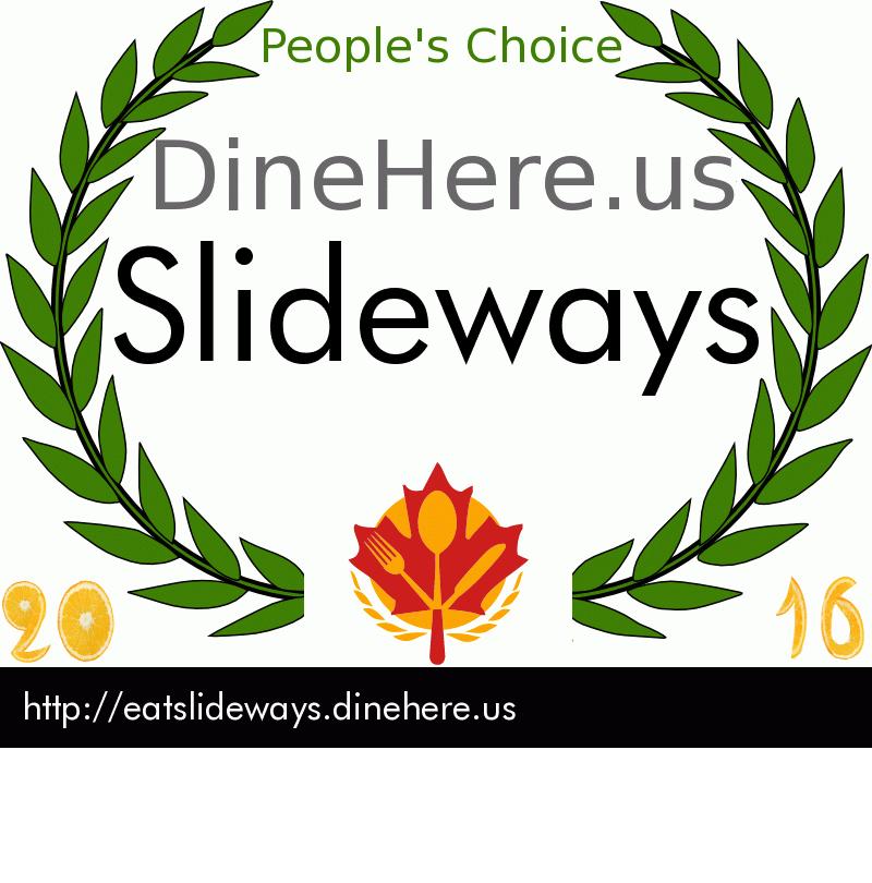 Slideways DineHere.us 2016 Award Winner